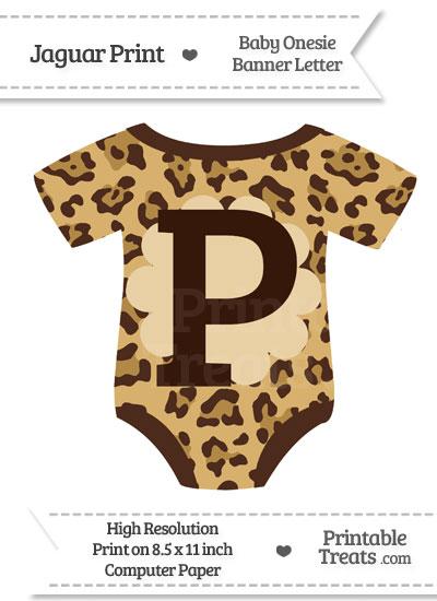 Jaguar Print Baby Onesie Shaped Banner Letter P from PrintableTreats.com