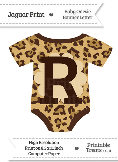 Jaguar Print Baby Onesie Shaped Banner Letter R from PrintableTreats.com
