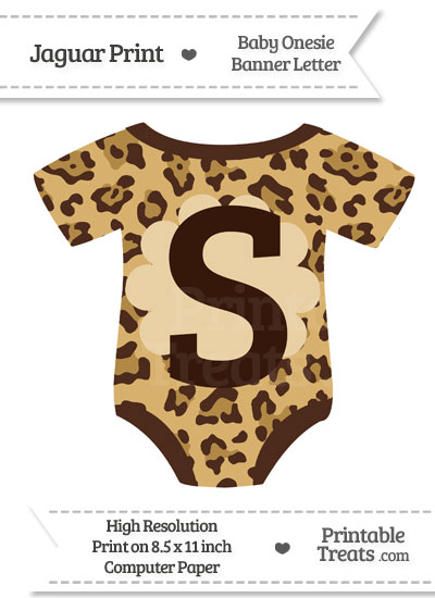 Jaguar Print Baby Onesie Shaped Banner Letter S from PrintableTreats.com