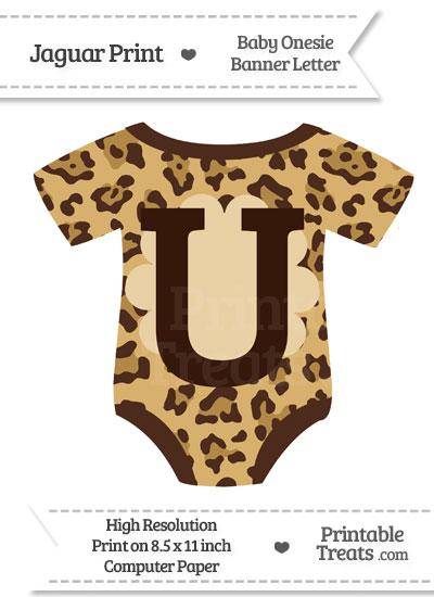 Jaguar Print Baby Onesie Shaped Banner Letter U from PrintableTreats.com