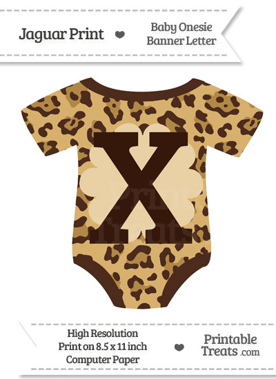 Jaguar Print Baby Onesie Shaped Banner Letter X from PrintableTreats.com