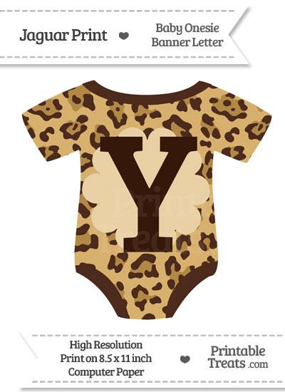 Jaguar Print Baby Onesie Shaped Banner Letter Y from PrintableTreats.com