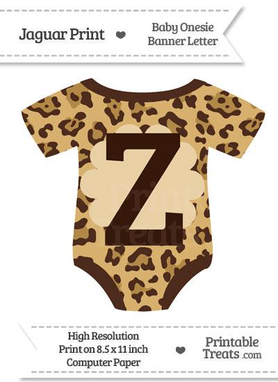 Jaguar Print Baby Onesie Shaped Banner Letter Z from PrintableTreats.com