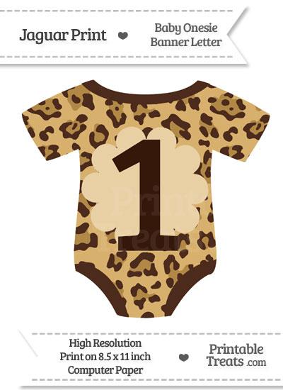 Jaguar Print Baby Onesie Shaped Banner Number 1 from PrintableTreats.com