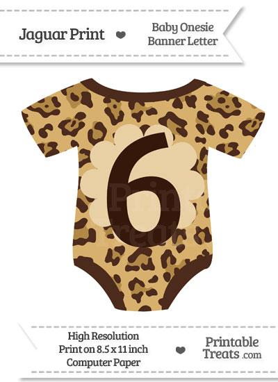 Jaguar Print Baby Onesie Shaped Banner Number 6 from PrintableTreats.com