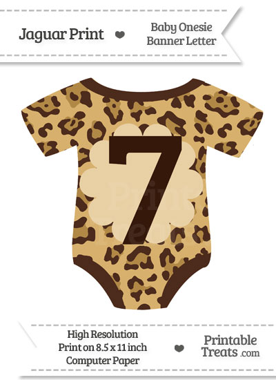 Jaguar Print Baby Onesie Shaped Banner Number 7 from PrintableTreats.com