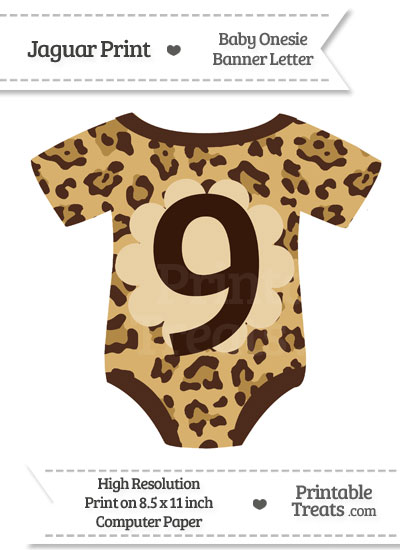 Jaguar Print Baby Onesie Shaped Banner Number 9 from PrintableTreats.com