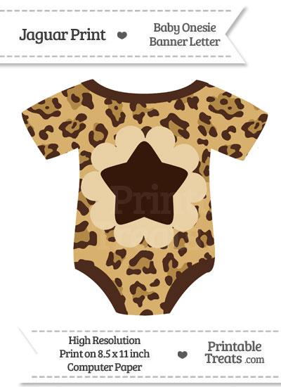 Jaguar Print Baby Onesie Shaped Banner Star End Flag from PrintableTreats.com
