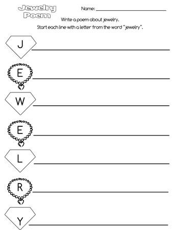 printable jewelry acrostic poem