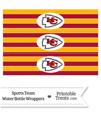 Kansas City Chiefs Water Bottle Wrappers from PrintableTreats.com