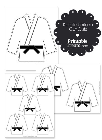 Printable Karate Uniform with Black Belt Cut Outs