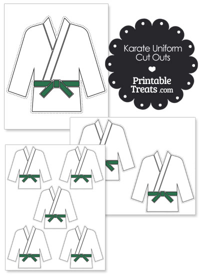 Printable Karate Uniform with Green Belt Cut Outs