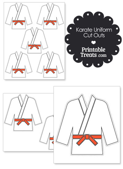 Printable Karate Uniform with Orange Belt Cut Outs