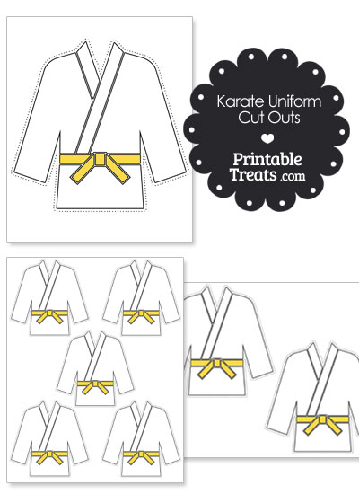 Printable Karate Uniform with Yellow Belt Cut Outs