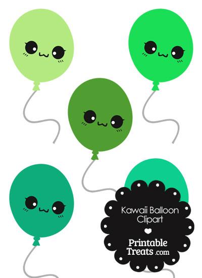 Kawaii Balloon Clipart in Shades of Green from PrintableTreats.com