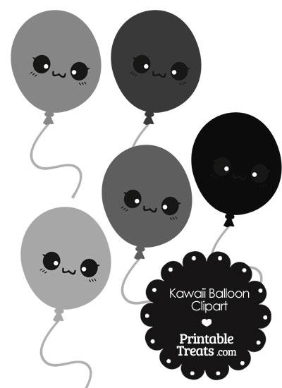 Kawaii Balloon Clipart in Shades of Grey from PrintableTreats.com