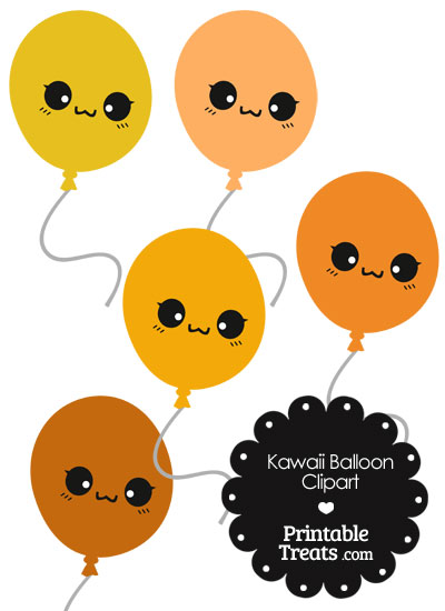 Kawaii Balloon Clipart in Shades of Orange from PrintableTreats.com