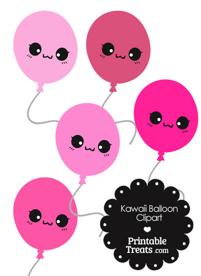 Kawaii Balloon Clipart in Shades of Pink from PrintableTreats.com