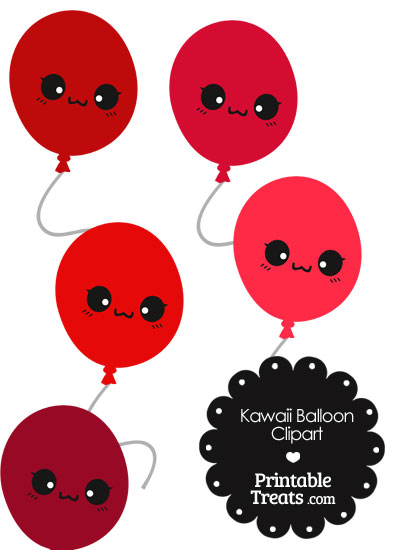 Kawaii Balloon Clipart in Shades of Red from PrintableTreats.com