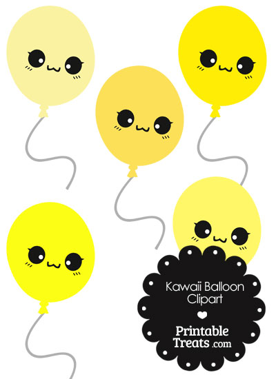 Kawaii Balloon Clipart in Shades of Yellow from PrintableTreats.com
