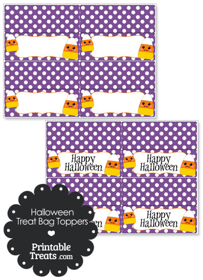 Kawaii Candy Corn Treat Bag Toppers from PrintableTreats.com