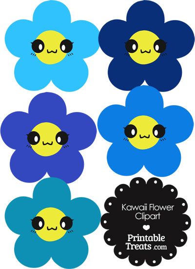 Kawaii Flower Clipart in Shades of Blue from PrintableTreats.com