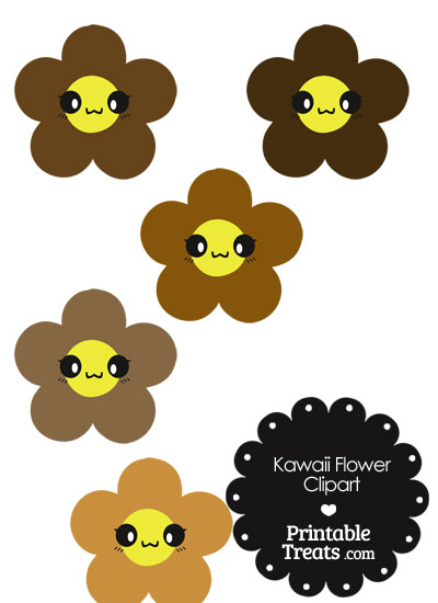 Kawaii Flower Clipart in Shades of Brown from PrintableTreats.com