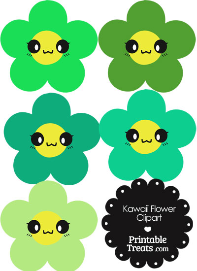 Kawaii Flower Clipart in Shades of Green from PrintableTreats.com