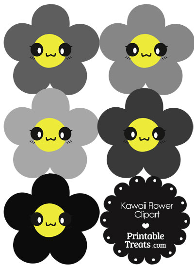 Kawaii Flower Clipart in Shades of Grey from PrintableTreats.com