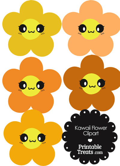 Kawaii Flower Clipart in Shades of Orange from PrintableTreats.com