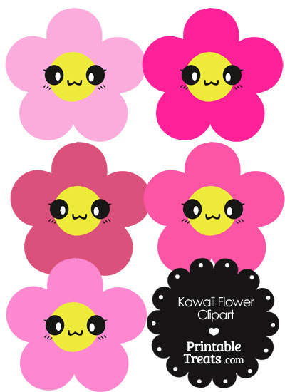 Kawaii Flower Clipart in Shades of Pink from PrintableTreats.com