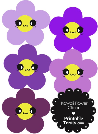 Kawaii Flower Clipart in Shades of Purple from PrintableTreats.com