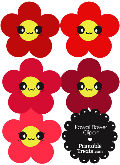 Kawaii Flower Clipart in Shades of Red from PrintableTreats.com