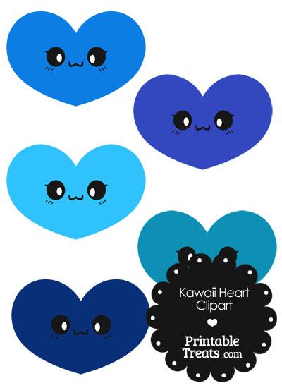 Kawaii Heart Clipart in Shades of Blue from PrintableTreats.com