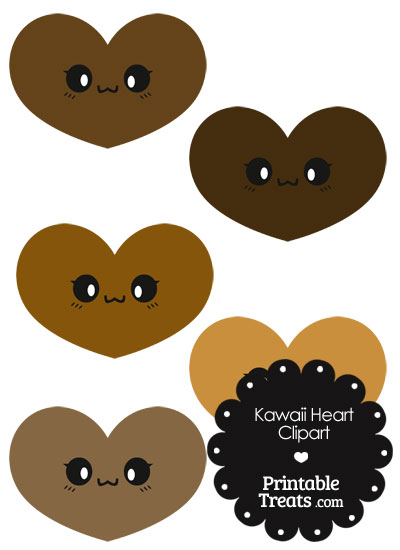 Kawaii Heart Clipart in Shades of Brown from PrintableTreats.com