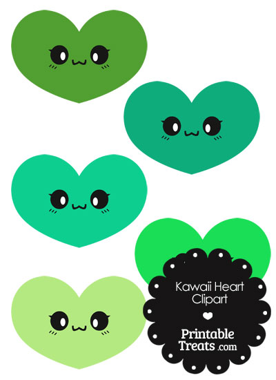 Kawaii Heart Clipart in Shades of Green from PrintableTreats.com