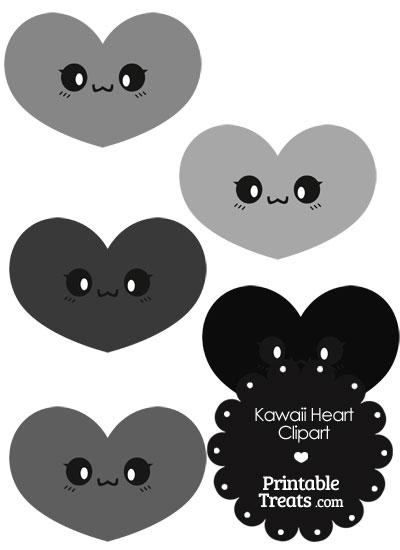 Kawaii Heart Clipart in Shades of Grey from PrintableTreats.com