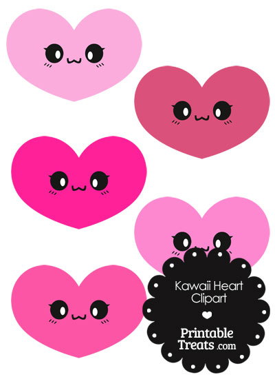 Kawaii Heart Clipart in Shades of Pink from PrintableTreats.com