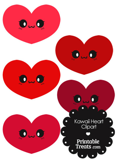 Kawaii Heart Clipart in Shades of Red from PrintableTreats.com