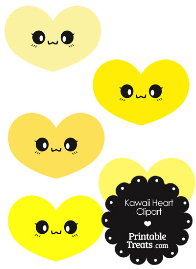 Kawaii Heart Clipart in Shades of Yellow from PrintableTreats.com