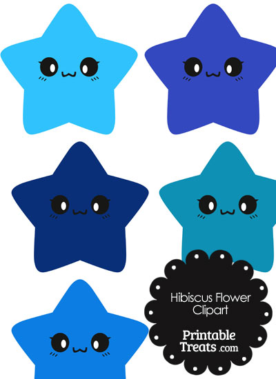 Kawaii Star Clipart in Shades of Blue from PrintableTreats.com