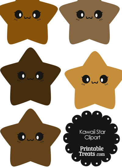 Kawaii Star Clipart in Shades of Brown from PrintableTreats.com