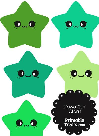 Kawaii Star Clipart in Shades of Green from PrintableTreats.com