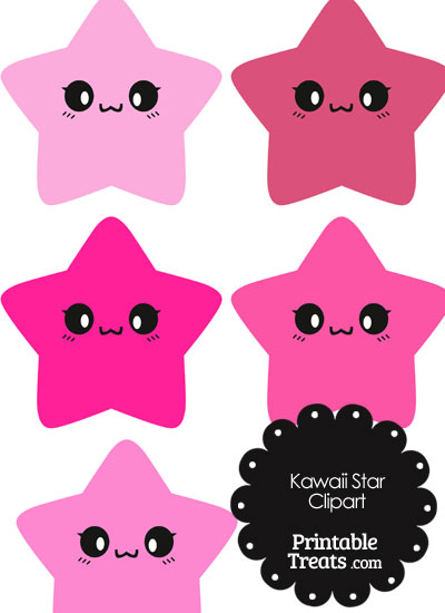 Kawaii Star Clipart in Shades of Pink from PrintableTreats.com