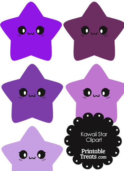 Kawaii Star Clipart in Shades of Purple from PrintableTreats.com