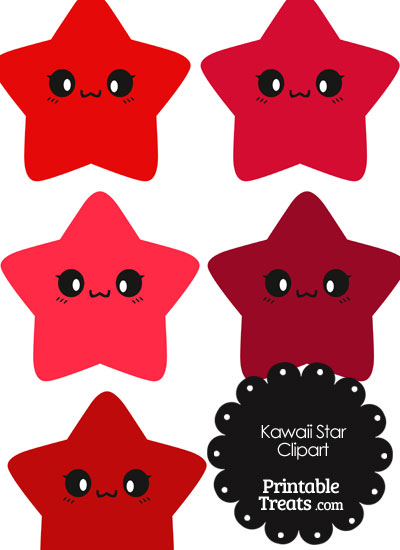 Kawaii Star Clipart in Shades of Red from PrintableTreats.com