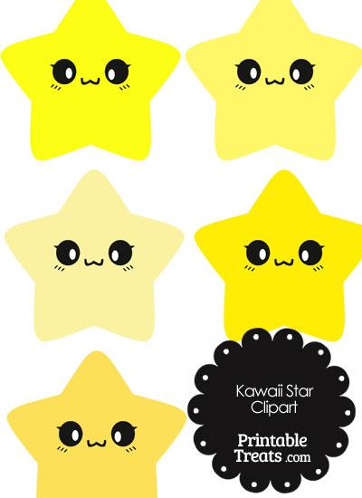 Kawaii Star Clipart in Shades of Yellow from PrintableTreats.com