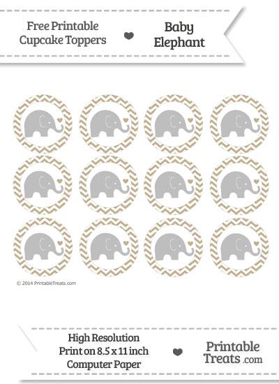 Khaki Chevron Baby Elephant Cupcake Toppers from PrintableTreats.com