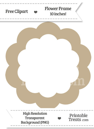 Khaki Flower Frame Clipart from PrintableTreats.com