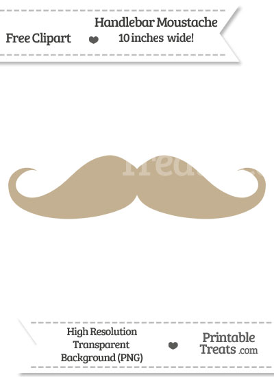 Khaki Handlebar Moustache Clipart from PrintableTreats.com